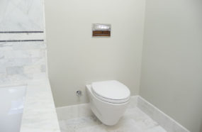 Finished wall mount toilet.